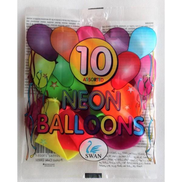 10 ΜΠΑΛΟΝΙΑ ΝΕΟΝ ΧΡΩΜΑΤΑ Ν 230051 Μπαλόνια