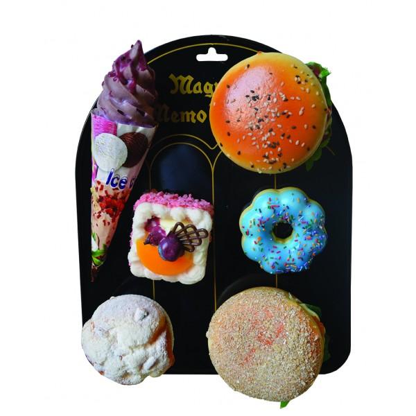Μαγνητικά, αρωματικά γλυκά και χάμπουργκερ σε μεταλλικό σταντ N 447-452 Χλαπάτσες και Squishy