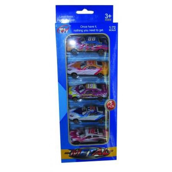Σετ 5 μεταλλικά αυτοκίνητα 10Χ5Χ24εκ. Ν 647 Κουρσάκια Free  Wheels (Ελέυθερης Κίνησης)